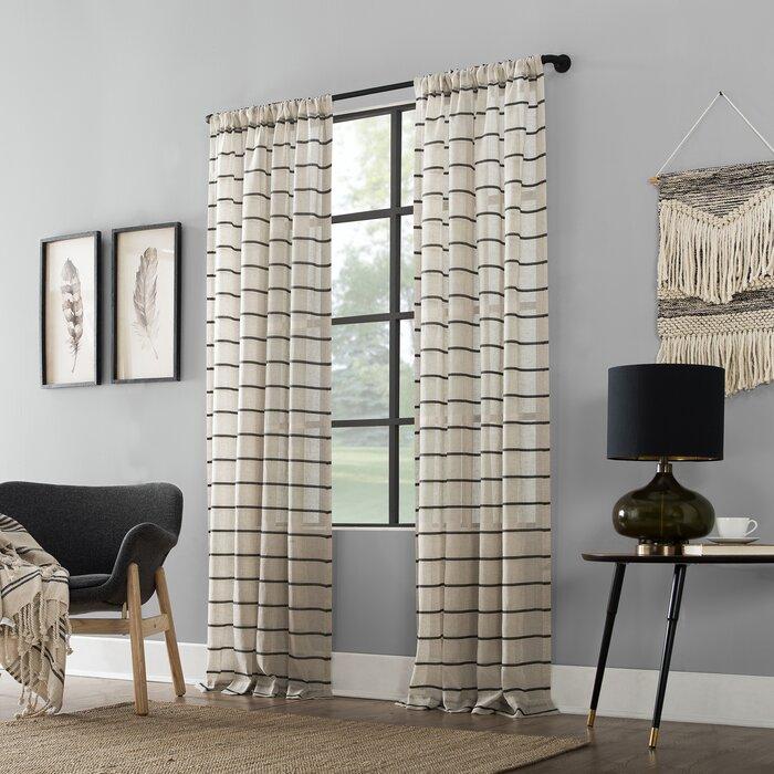 Twill Anti Dust Striped Semi Sheer Rod Pocket Curtain Panel Regarding Ladonna Rod Pocket Solid Semi Sheer Window Curtain Panels (#44 of 47)