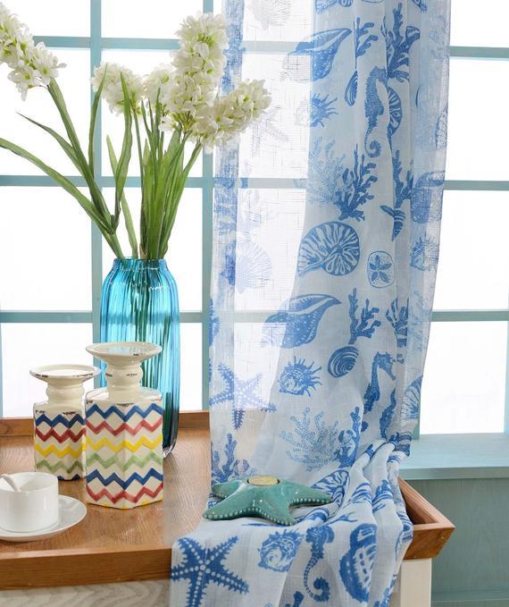 Two Custom White And Blue Nautical Sheer Curtains Made To Order. Sea Beach  Ocean Theme Starfish Seahorse Seashell Coral (#40 of 50)