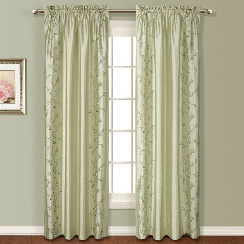 United Curtain Addison Embroidered Curtain Panel Sage Pertaining To Ofloral Embroidered Faux Silk Window Curtain Panels (View 12 of 50)