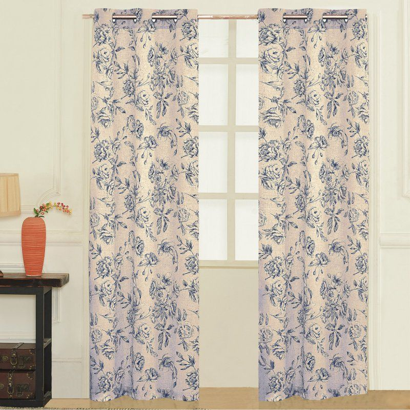 United Curtain Fiona Curtain Panel Pairs Blue – Fio95Blu For Lambrequin Boho Paisley Cotton Curtain Panels (View 34 of 41)