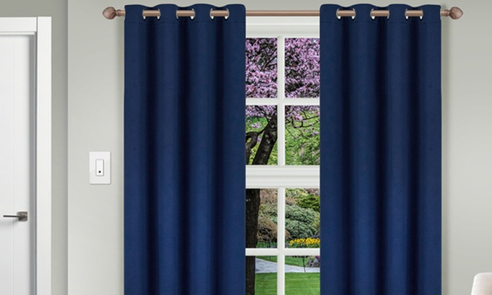 Up To 47% Off On Insulated Curtain Panel Pair | Groupon Goods Intended For Insulated Blackout Grommet Window Curtain Panel Pairs (#36 of 37)