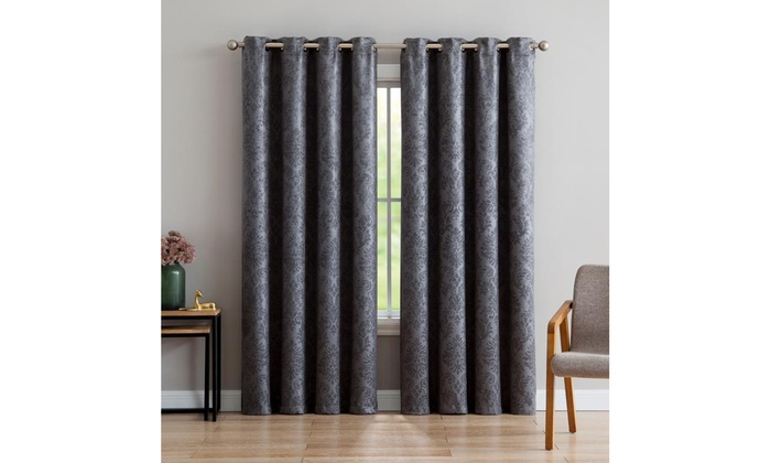 Up To 61% Off On Grommet Window Drapery Curtains | Groupon Goods Pertaining To Embossed Thermal Weaved Blackout Grommet Drapery Curtains (View 40 of 42)