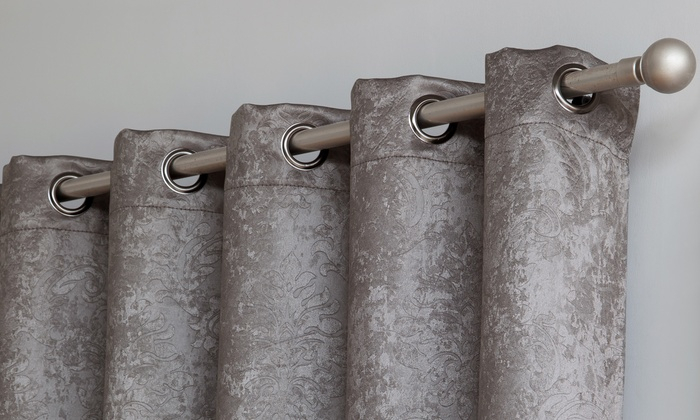 Up To 61% Off On Grommet Window Drapery Curtains | Groupon Goods Throughout Embossed Thermal Weaved Blackout Grommet Drapery Curtains (View 41 of 42)