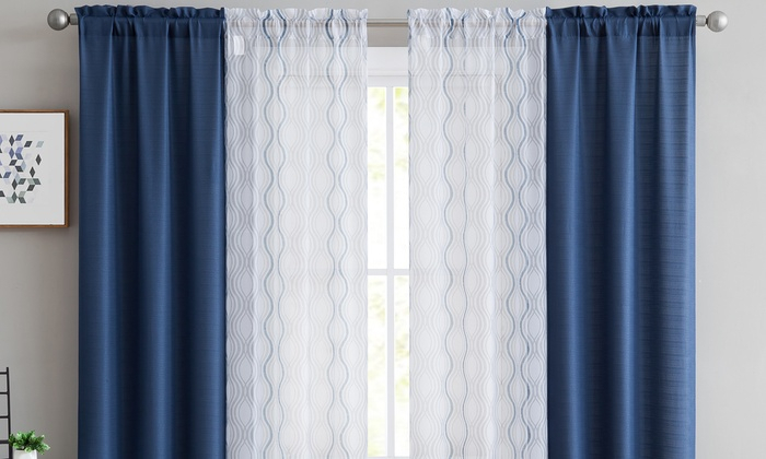 Inspiration about Up To 67% Off On Curtain Panel Pair Set (4 Pack) | Groupon Goods With Regard To Caldwell Curtain Panel Pairs (#10 of 27)