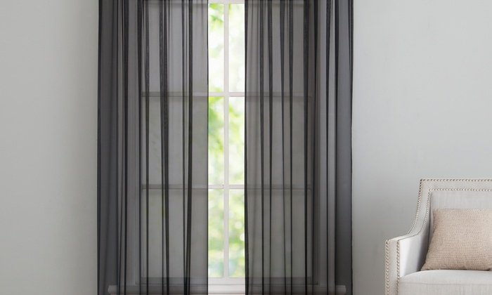 Up To 81% Off On Sheer Window Curtain Panel Pair | Groupon Goods Inside Infinity Sheer Rod Pocket Curtain Panels (#41 of 50)