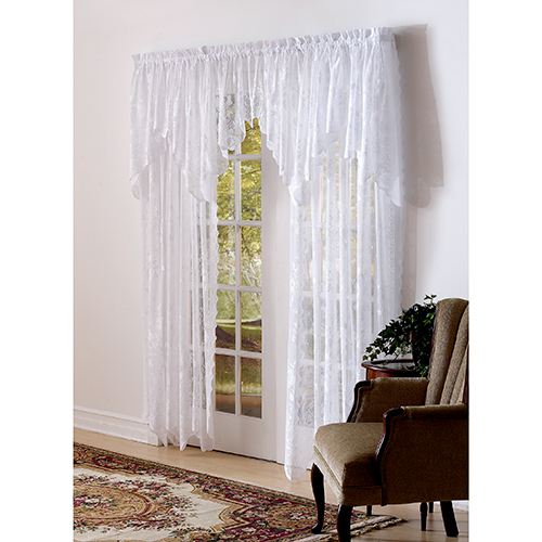 Upc 029927245202 – Allison Lace Valance – 58X32 , Ivory With Alison Rod Pocket Lace Window Curtain Panels (View 44 of 44)