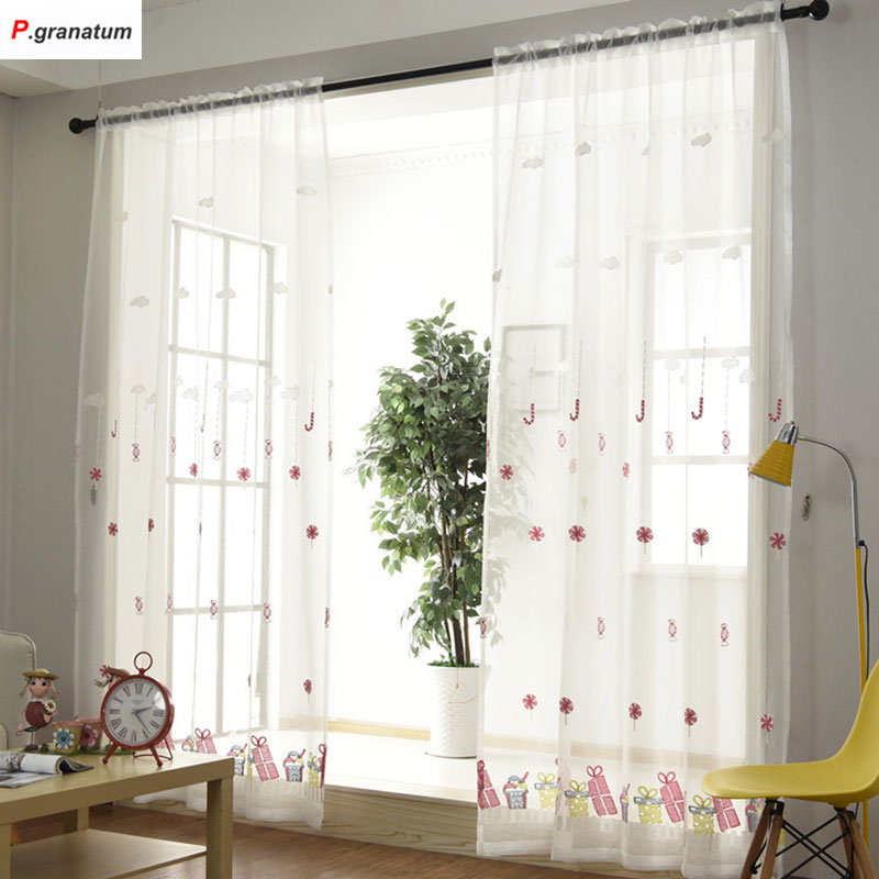 Inspiration about Us $10.13 29% Off|Single Panels Sheer Christmas Curtains For Living Room  Kids Decoration Pink Embroidered Voile Curtains For Children In Curtains  From With Kida Embroidered Sheer Curtain Panels (#7 of 50)