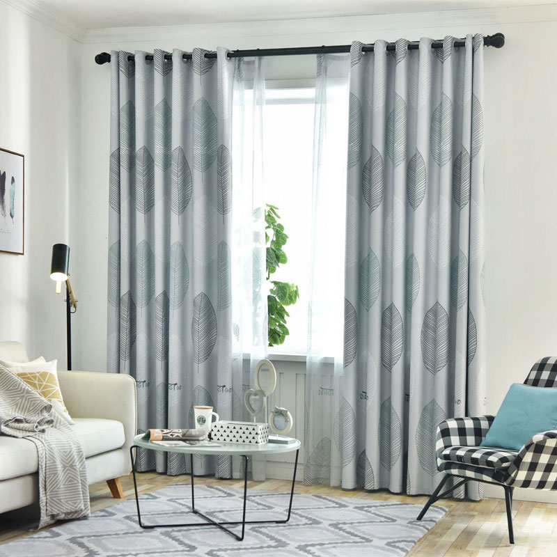 Inspiration about Us $11.05 35% Off|New Style Hot Printed Polyester High Shading Japanese  Blue Grey Leaves For Window Curtain Panel Living Room Bedroom Home  Windows In Regarding Grey Printed Curtain Panels (#8 of 48)
