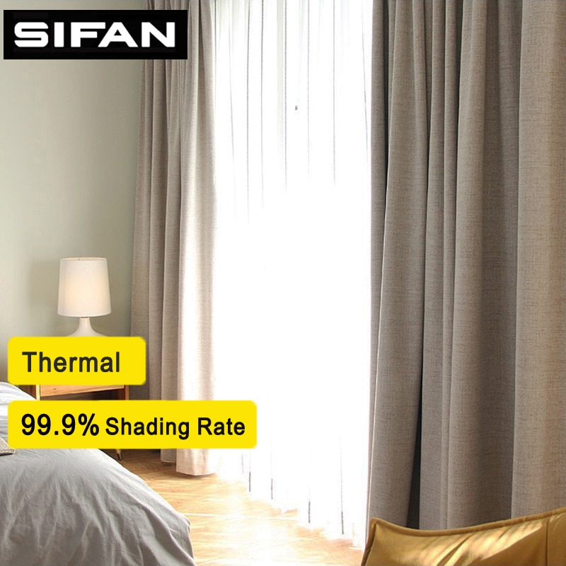 Inspiration about Us $15.27 54% Off|100% Shading Rate Faux Linen Blackout Curtains For Living  Room Modern Curtains For The Bedroom Curtains For Kids Custom Made In With Regard To Faux Linen Blackout Curtains (#16 of 50)