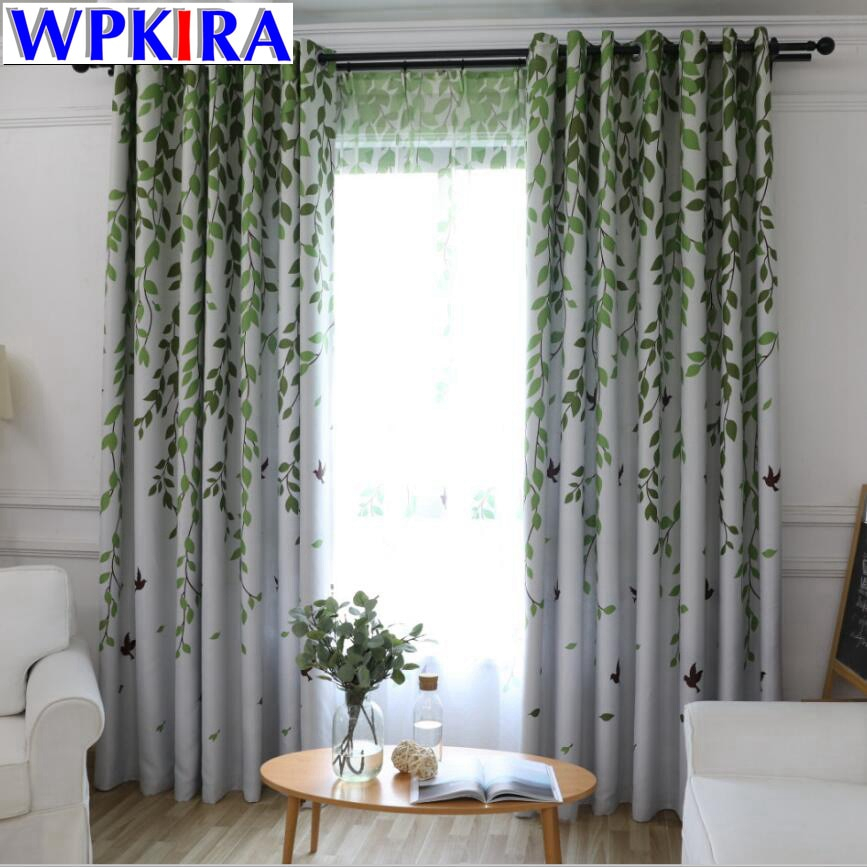 Inspiration about Us $5.07 35% Off|Blackout Curtains For Living Room American Rustic  Decorative Kitchen Window Birds Willow Printed Bedroom Curtains Panel Wp207  30 In With Willow Rod Pocket Window Curtain Panels (#41 of 46)