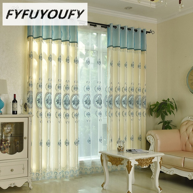 Inspiration about Us $6.16 48% Off|Europe Polyester/cotton Blackout Curtains For Living Room  Bedroom Embroidered Sheer Cloth Curtain Panels Kids Boy Floral Pattern In For Kida Embroidered Sheer Curtain Panels (#9 of 50)