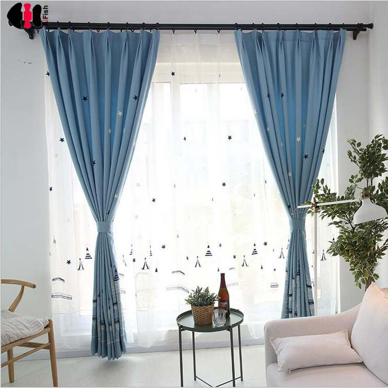 Inspiration about Us $6.77 34% Off|Cartoon Castle Embroidered Tulle Linen Curtains Blue  Modern Sheer Fabrics Kid Boys Room Fairy Tale Bedroom Window Panels  Wp401C In With Regard To Kida Embroidered Sheer Curtain Panels (#29 of 50)