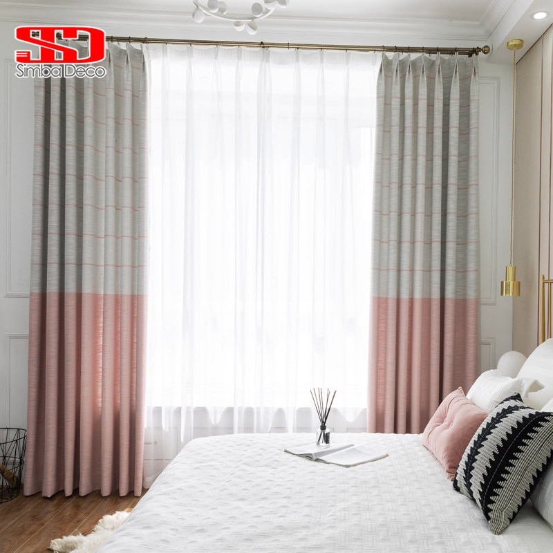 Inspiration about Us $7.84 45% Off|Modern Faux Linen Blackout Curtains For Living Room Pink  Kids Striped Drapes For Bedroom Window Treatments Decoration Panel In For Faux Linen Blackout Curtains (#5 of 50)