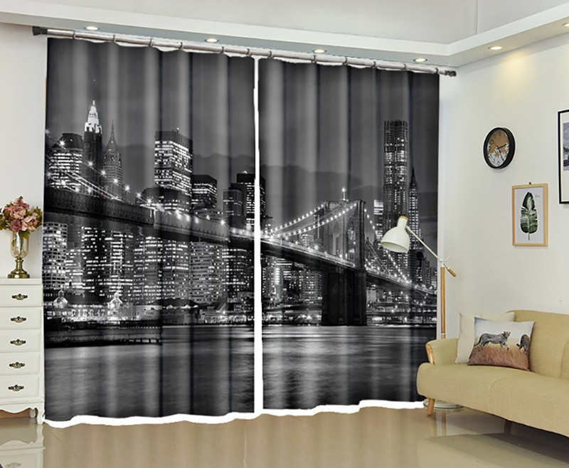 Inspiration about Us $81.77 26% Off|New Urban Landscape 3D Blackout Curtains Healthy Non  Pollution Digital Print Curtains Customizable Tablecloth Shower Curtain In In All Seasons Blackout Window Curtains (#30 of 48)