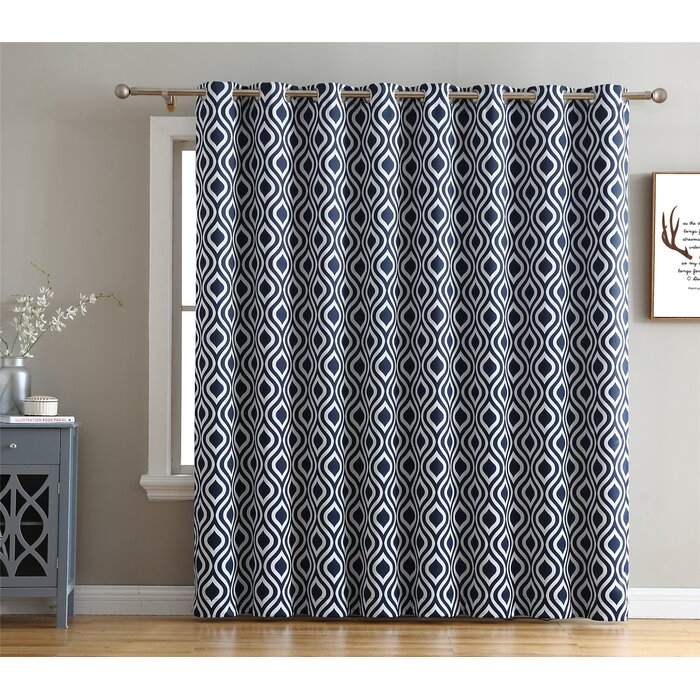 Valarie Geometric Blackout Thermal Grommet Single Curtain Panel For Edward Moroccan Pattern Room Darkening Curtain Panel Pairs (View 44 of 50)