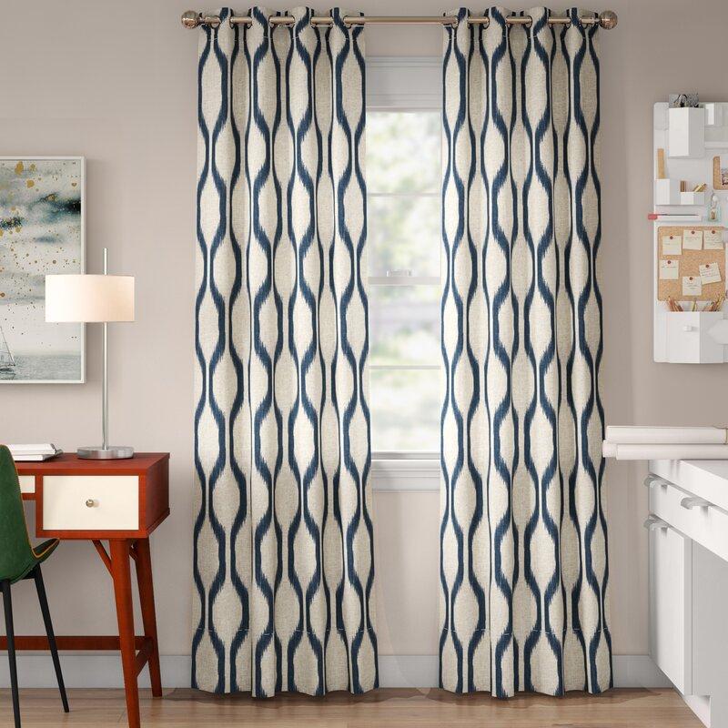 Valdovinos Geometric Room Darkening Grommet Curtain Panels Throughout Geometric Linen Room Darkening Window Curtains (View 48 of 50)