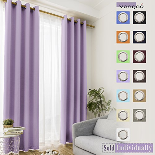 Vangao Blackout Curtains Lilac Thermal Insulated Room Within Grommet Room Darkening Curtain Panels (View 47 of 50)