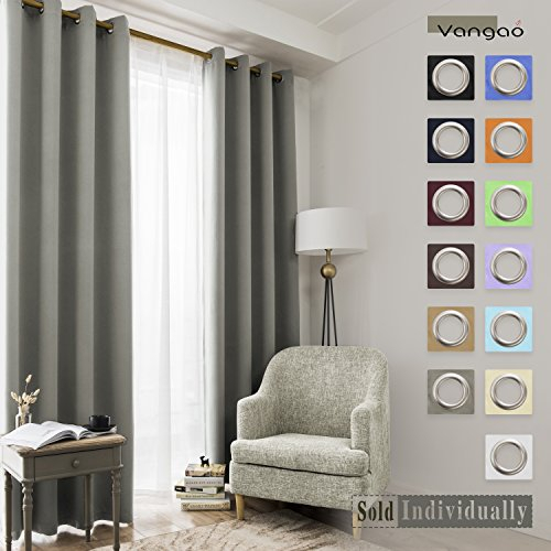Vangao Grey Blackout Curtains Thermal Insulated Room For Grommet Room Darkening Curtain Panels (View 48 of 50)