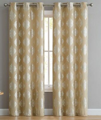 Vc Ny Home Downtown Collection Gemma Darkening Curtain Intended For Pastel Damask Printed Room Darkening Grommet Window Curtain Panel Pairs (#46 of 50)