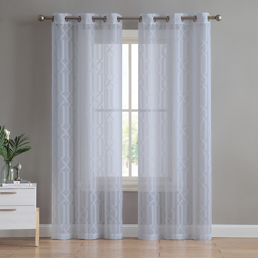 Vcny 2 Pack Irongate Sheer Window Curtains, | Products In Throughout Sunsmart Abel Ogee Knitted Jacquard Total Blackout Curtain Panels (View 19 of 19)