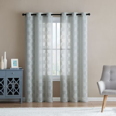 "Vcny Home Jolie Embroidery Sheer 84"" Grommet Top Window With Ocean Striped Window Curtain Panel Pairs With Grommet Top (#40 of 41)"