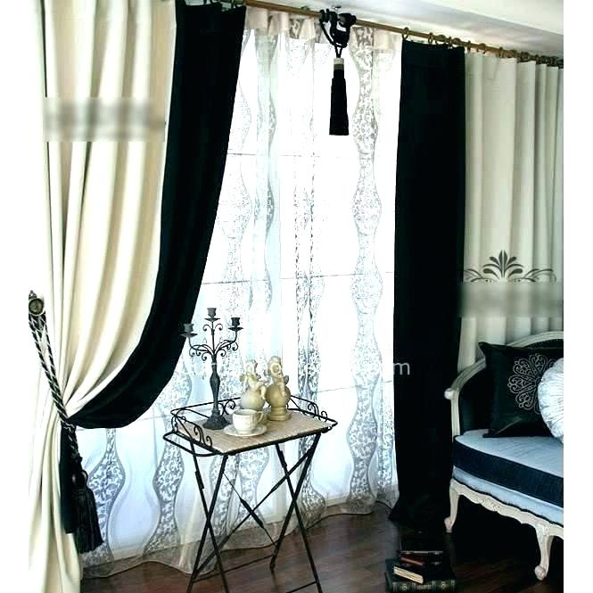 Velvet Blackout Curtain Black And Ivory Curtains Royal With Regard To Signature Ivory Velvet Blackout Single Curtain Panels (#47 of 50)