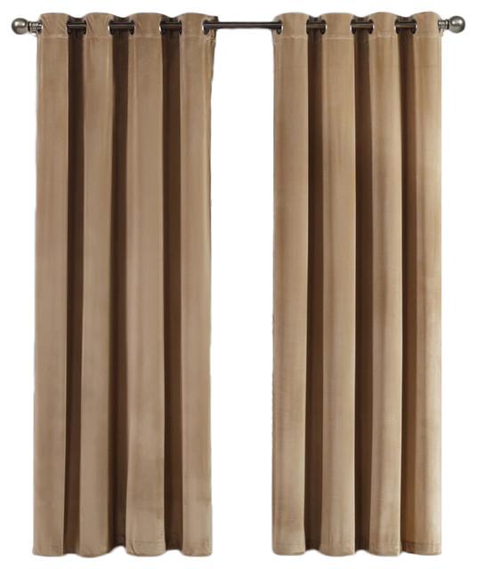 """Velvet Blackout Grommet Curtain Panels, Set Of 2, Taupe, 108""""x84"""" Inside Blackout Grommet Curtain Panels (View 39 of 40)"""