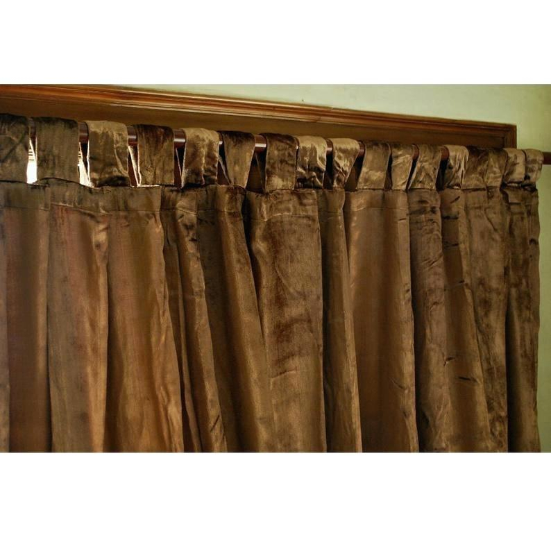 Velvet Curtain Panels Solid Matt Panel Drapes Back Tab Rod In Knotted Tab Top Window Curtain Panel Pairs (#41 of 50)