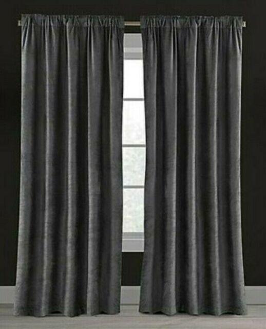 """Velvet Plush Nest 84"""" Rod Pocket/back Tab Lined Window Curtain Panel In  Gunmetal For Heritage Plush Velvet Single Curtain Panels (View 46 of 50)"""