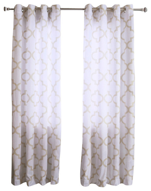 "Velvet Reverse Moroccan Print Curtains, Pair, Beige, 84"" Inside Edward Moroccan Pattern Room Darkening Curtain Panel Pairs (View 46 of 50)"