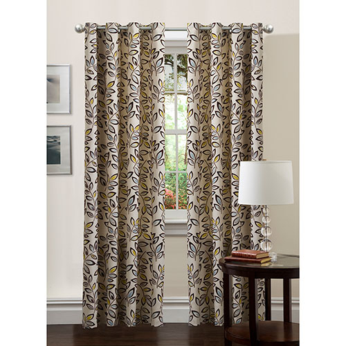 Ventura Print Flocked Lined Room Darkening Grommet Curtain Panel In Lined Grommet Curtain Panels (#30 of 31)