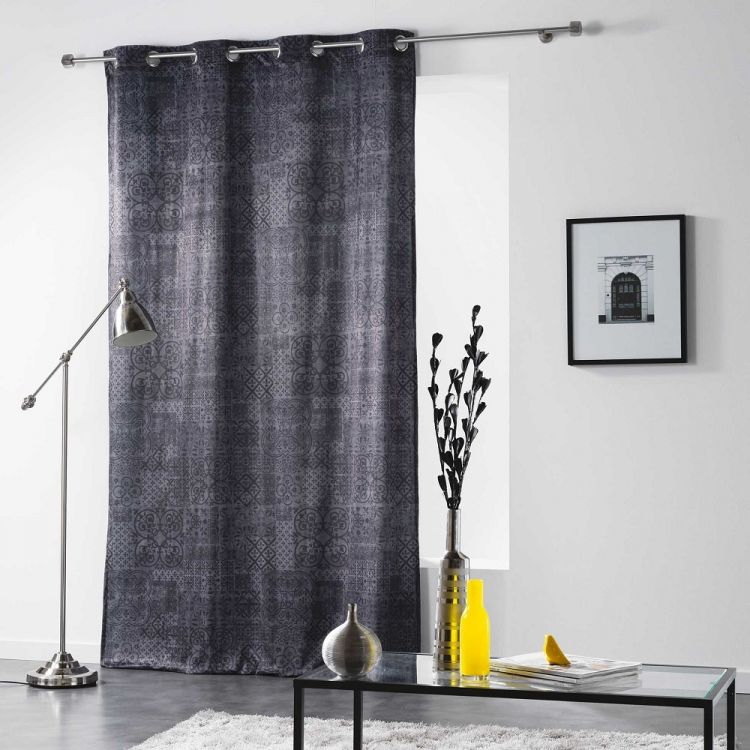Verona   Printed Velvet   Curtain Panel With   Eyelet Top For Grey Printed Curtain Panels (View 48 of 48)
