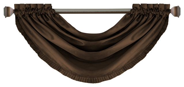 "Versailles Waterfall Window Valance, Chocolate, 52""x36"" With Regard To Elrene Versailles Pleated Blackout Curtain Panels (View 36 of 38)"