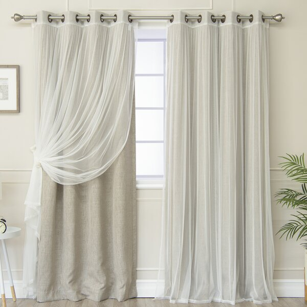 Vestal Tulle And Heathered Room Mix And Match Solid Blackout Thermal Grommet Curtain Panels Intended For Mix & Match Blackout Tulle Lace Bronze Grommet Curtain Panel Sets (View 31 of 50)