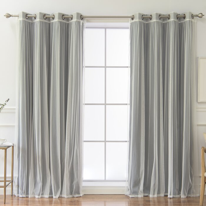 Vestal Tulle And Heathered Room Mix And Match Solid Blackout Thermal  Grommet Curtain Panels Regarding Mix And Match Blackout Tulle Lace Sheer Curtain Panel Sets (#49 of 50)