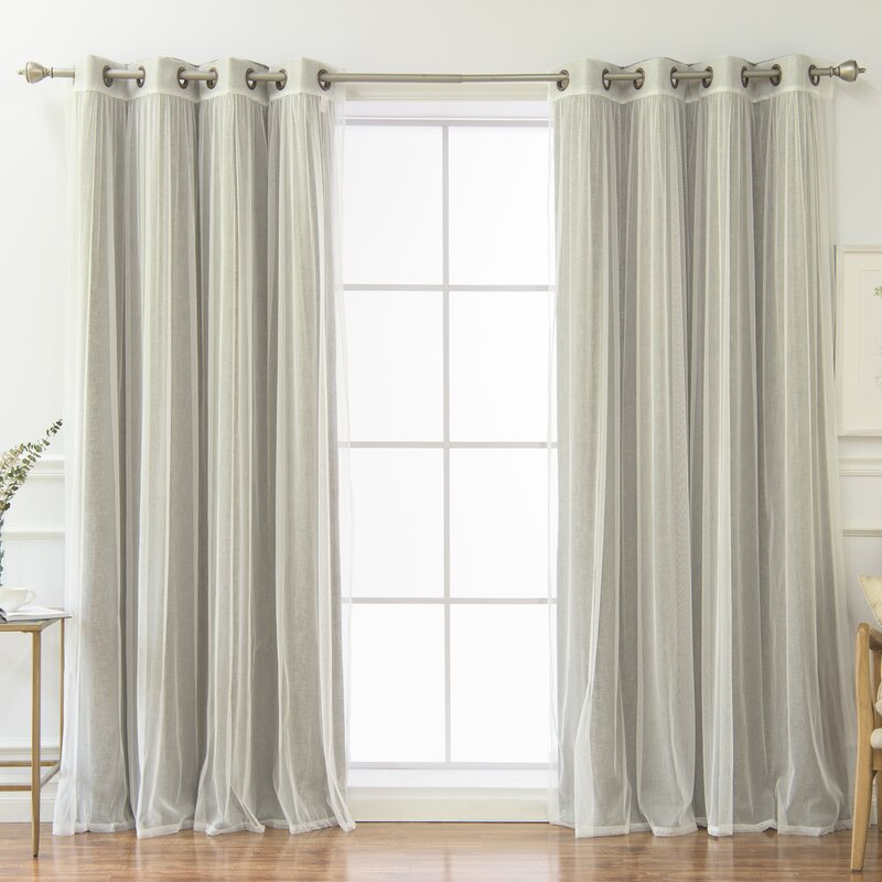Vestal Tulle And Heathered Room Mix And Match Solid Blackout Thermal Grommet Curtain Panels Within Mix & Match Blackout Tulle Lace Bronze Grommet Curtain Panel Sets (View 37 of 50)