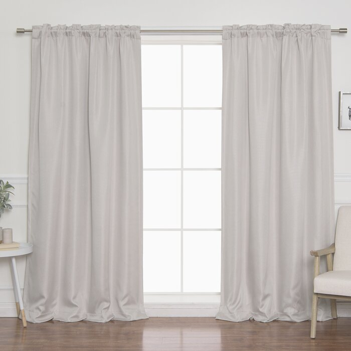 Vicenta Basketweave Faux Linen Solid Blackout Back Tab Top Curtain Panels Inside Faux Linen Extra Wide Blackout Curtains (View 41 of 50)