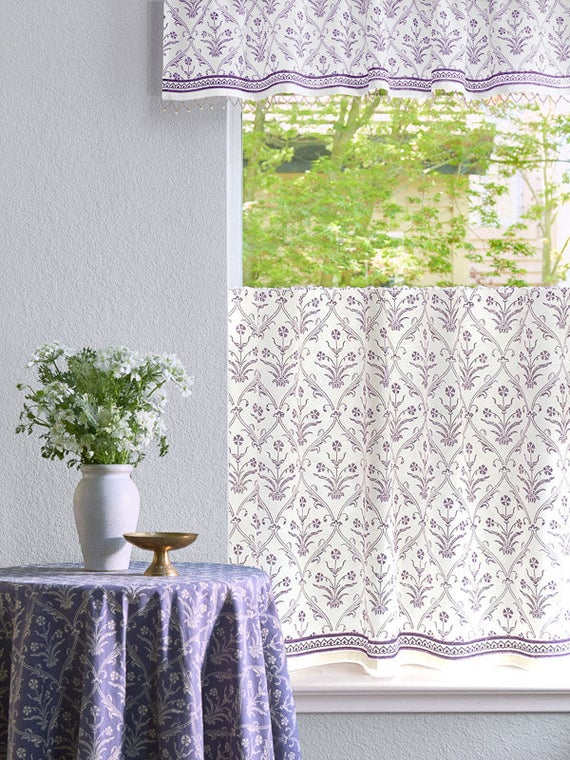 Victorian Lilac Ivory ~ Purple Floral Boho White Beaded Valance Pertaining To Lambrequin Boho Paisley Cotton Curtain Panels (#36 of 41)