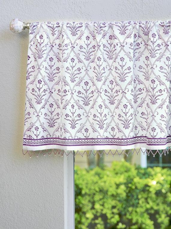Victorian Lilac Ivory ~ Purple Floral Boho White Beaded Valance Pertaining To Lambrequin Boho Paisley Cotton Curtain Panels (View 35 of 41)
