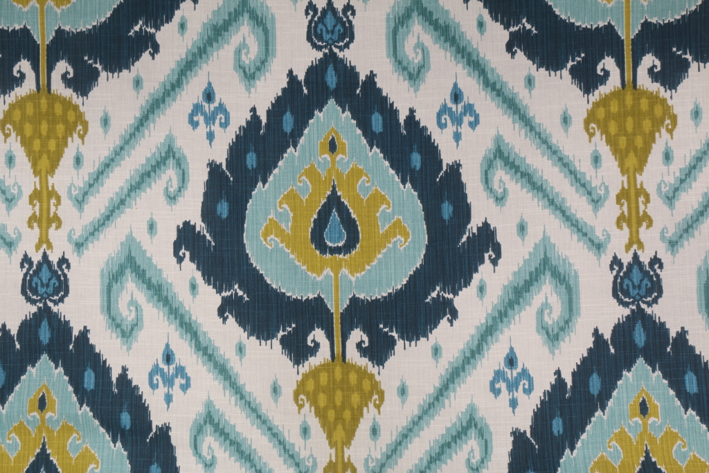 Vilber Ikat Spanish Printed Cotton Drapery Fabric In Blue Green $ (#49 of 50)