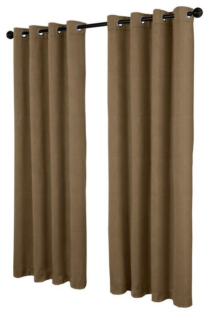 Villamora Textured Linen Look Grommet Top Curtain Panels, Cappucino, Set Of 2 Inside Oakdale Textured Linen Sheer Grommet Top Curtain Panel Pairs (View 18 of 41)