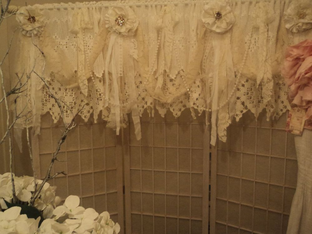 Vintage Lace Window Valance Shabby Chic Crochet Curtain Inside Grainger Buffalo Check Blackout Window Curtains (View 43 of 50)