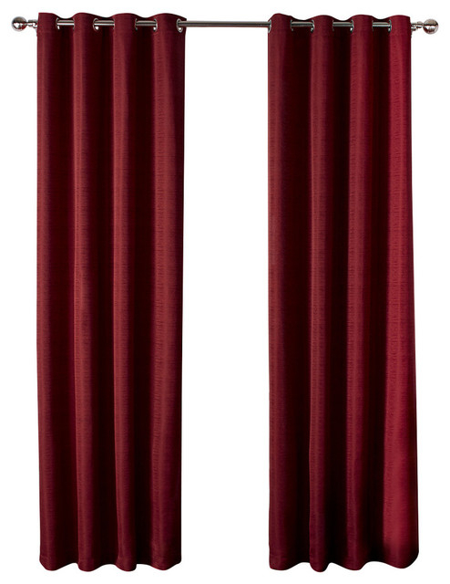 "Virenze Faux Silk Grommet Top Window Curtain Panels, 54"" X 96"", Set Of 2,  Chili In Raw Silk Thermal Insulated Grommet Top Curtain Panel Pairs (#44 of 46)"