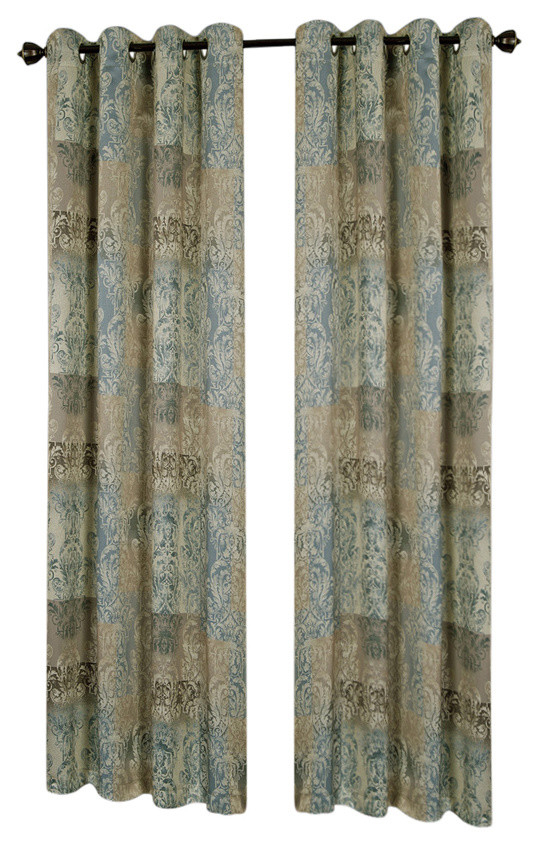 """Vogue Grommet Window Curtain Panel, 50""""x63"""", Blue For Caldwell Curtain Panel Pairs (View 26 of 27)"""