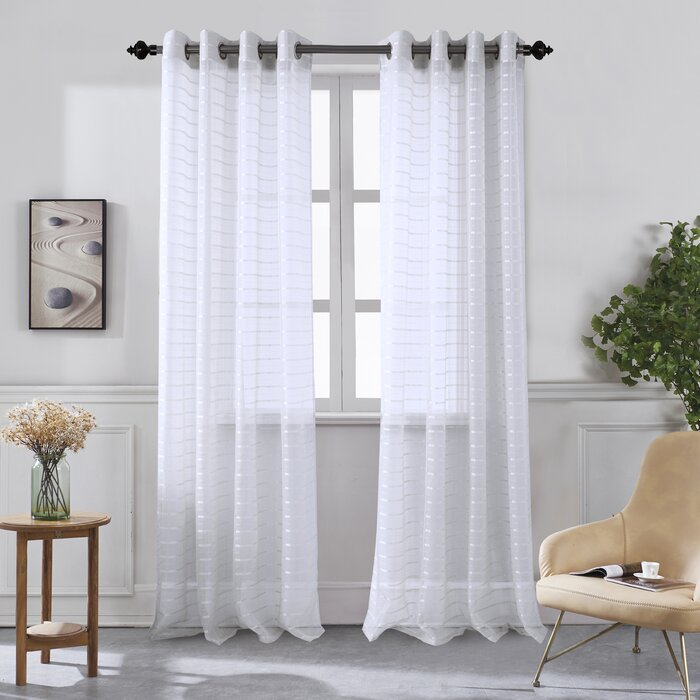 Wagaman Striped Sheer Grommet Curtain Panels For Ocean Striped Window Curtain Panel Pairs With Grommet Top (#41 of 41)
