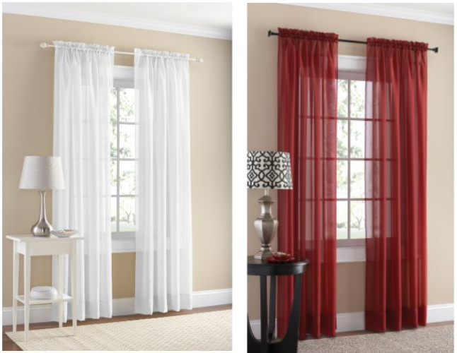 Walmart: 2 Mainstays Marjorie Solid Voile Curtain Panel Pair With Regard To Pairs To Go Victoria Voile Curtain Panel Pairs (#27 of 30)