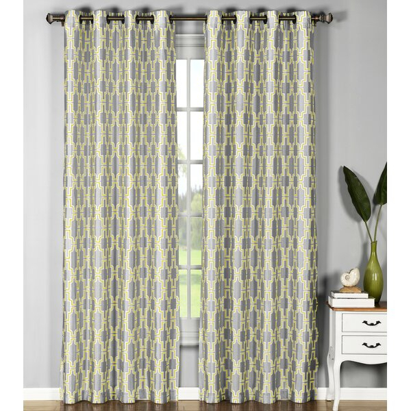 Wanda Geometric Sheer Single Curtain Panel With Ink Ivy Ankara Cotton Printed Single Curtain Panels (View 50 of 50)