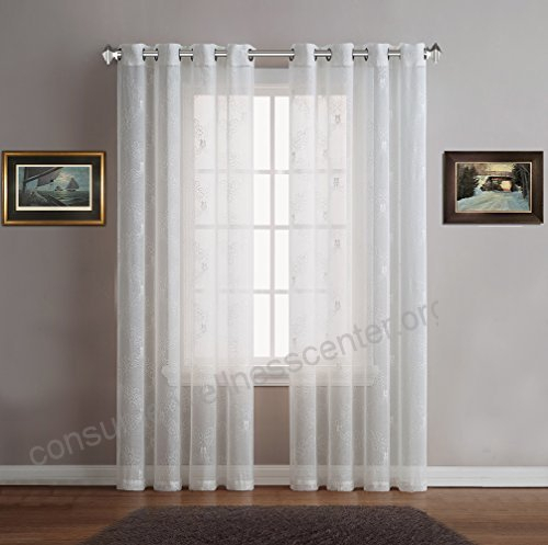 Warm Home Designs Sheer Ivory White Faux Linen Standard Size In Kida Embroidered Sheer Curtain Panels (View 47 of 50)