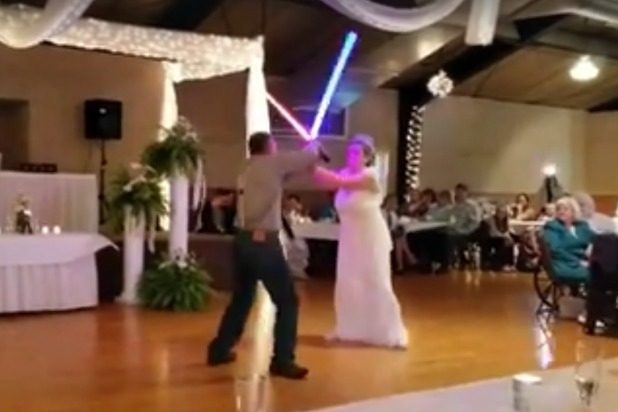 Watch Newlyweds Have A Light Saber Battle Instead Of First Within Luxury Collection Cranston Sheer Curtain Panel Pairs (View 40 of 42)