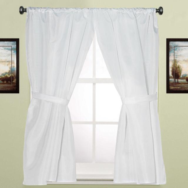 "Water Resistant White Fabric Bathroom Window Curtain Pair W/ Tiebacks 36"" X  54"" Throughout Classic Hotel Quality Water Resistant Fabric Curtains Set With Tiebacks (#50 of 50)"